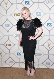 Abigail Breslin got all frilled up in an embroidered LBD with feathered sleeves and a fringed hem for the Emmy Awards Fox after-party.