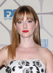 Judy Greer wore her hair straight with eye-grazing bangs when she attended the Emmy Awards Fox after-party.