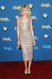 Chelsea Kane donned a nude cocktail dress with strategically placed beading for the Directors Guild of America Awards.