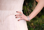 Dianna Agron gave her heavenly dress a dark twist with dark nail polish.