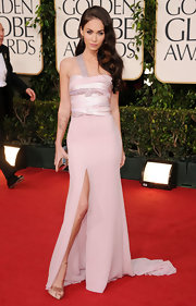 Megan Fox channeled Old Hollywood at the Golden Globes in a pale pink Armani Prive dress encrusted with crystals.