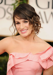 Lea Michelle looked darling at the 2011 Golden Globe Awards. The actress finished off her look with pinned up ringlets and glossy pink lips.