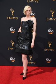 Gwendoline Christie opted for a shimmery strapless LBD with a sculptural neckline when she attended the Emmy Awards.