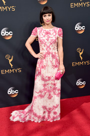 Constance Zimmer made a romantic choice with this pink and white embroidered gown by Monique Lhuillier for her Emmys look.