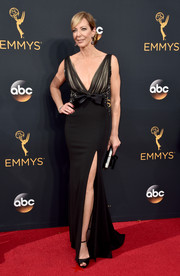 Allison Janney looked very ladylike in a custom bow-adorned black gown by Badgley Mischka at the Emmy Awards.
