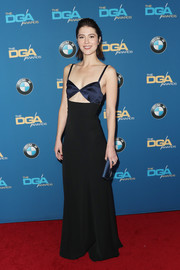 Mary Elizabeth Winstead hit the Directors Guild of America Awards rocking a navy and black cutout gown by Diane von Furstenberg.