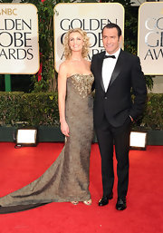 Alexandra Lamy's Golden Globe's gown had some event appropriate gold tones. The gold beading was truly spectacular.