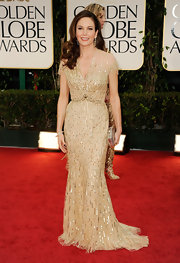 Diane Lane looked subtly glitzy at the Golden Globes in this sheer buttery chiffon gown.