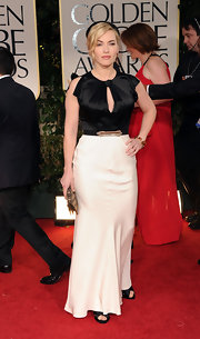 Kate Winslet wore a black-and-white silk number to the Golden Globes.