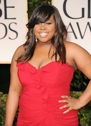 Amber Riley wore a cool taupe shade of nail polish at the 69th Annual Golden Globe Awards.
