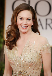 Diane Lane arrived at the 69th Annual Golden Globe Awards looking stunning with her hair in big spiral curls.