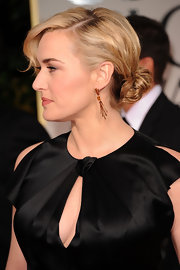 Kate Winslet wore her hair in a low loose bun at the 69th Annual Golden Globe Awards.