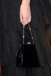 Calista Flockhart carried a classic black evening bag to the 2012 Golden Globes.
