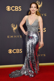 Anna Chlumsky brought major sparkle to the red carpet with this silver sequin gown by Sachin & Babi at the 2017 Emmys.