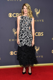 Laura Dern cut a bold figure in a feather-hem cutout dress by Proenza Schouler at the 2017 Emmys.