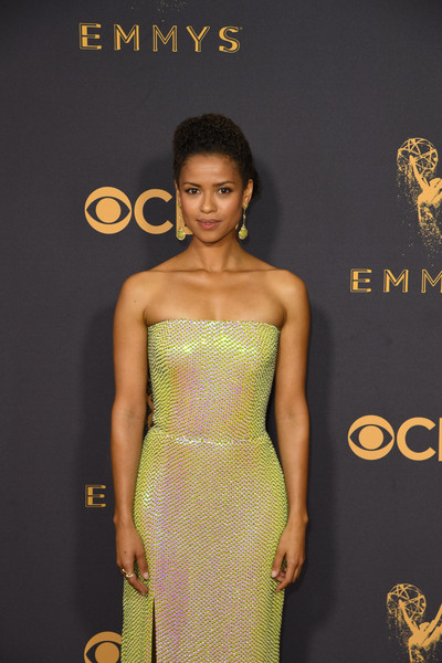 More Pics of Gugu Mbatha-Raw Dangling Gemstone Earrings (1 of 10) - Dangle Earrings Lookbook - StyleBistro [photo,clothing,fashion model,dress,cocktail dress,shoulder,hairstyle,strapless dress,fashion,yellow,premiere,arrivals,gugu mbatha-raw,mark ralston,primetime emmy awards,microsoft theatre,california,los angeles,afp,69th emmy awards]