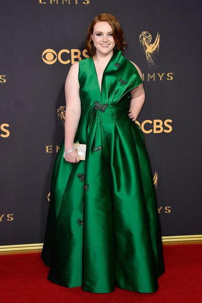 More Pics of Shannon Purser Curled Out Bob (1 of 9) - Shannon Purser Lookbook - StyleBistro [red carpet,carpet,clothing,green,dress,flooring,gown,formal wear,fashion,premiere,arrivals,shannon purser,microsoft theater,los angeles,california,primetime emmy awards]