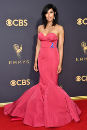 Padma Lakshmi WOWED in a strapless rose mermaid gown by Christian Siriano at the 2017 Emmys.
