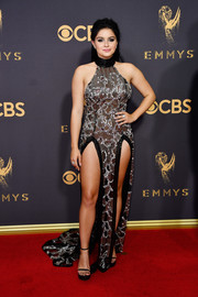 Ariel Winter flashed plenty of skin, as usual, in a double-slit black and silver halter gown by Steven Khalil at the 2017 Emmys.