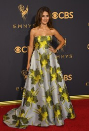 Hilaria Baldwin was spring-glam at the 2017 Emmys in a strapless Badgley Mischka gown featuring an oversized floral print.