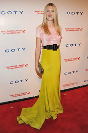 Byrdie Bell was creatively elegant at the DKMS Gala wearing this chartreuse trained skirt.