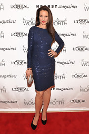 Andie MacDowell glittered in a blue sequined dress for the Women of Worth Awards.