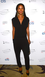 Joy Bryant opted for a drop-waist jumpsuit for her cool and contemporary look at the Television Academy Honors.