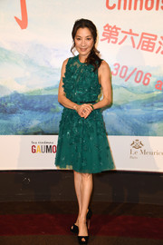 Michelle Yeoh paired her dress with black platform peep-toes.