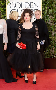 Helena Bonham Carter chose a quirky lips-shaped clutch for the Golden Globes.