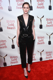 Rachel Brosnahan kept it relaxed yet chic in a black sequin jumpsuit by Saint Laurent at the 2018 Writers Guild Awards.