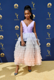 Marsai Martin paired her cute frock with silver glitter pumps by Nicholas Kirkwood.