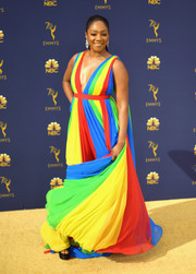 Tiffany Haddish livened up the 2018 Emmys yellow carpet with this rainbow gown by Prabal Gurung.