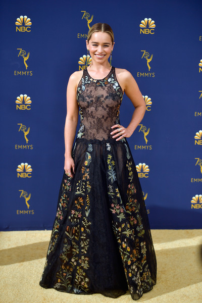 Emilia Clarke looked charming in a black Dior Couture lace gown with floral embroidery at the 2018 Emmys.