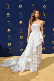 Jessica Biel looked magnificent in a strapless, scallop-patterned white gown by Ralph & Russo Couture at the 2018 Emmys.