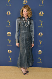 Laura Dern went for cool glamour in a gray corset dress by Thom Browne at the 2018 Emmys.