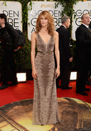 Laura Dern looked jaw-droppingly sophisticated at the Golden Globes in a low-cut gray Roberto Cavalli gown with snakeskin-like beading.