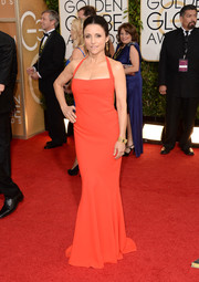 Julia Louis-Dreyfus went for simple sophistication in a red Narciso Rodriguez halter gown during the Golden Globes.