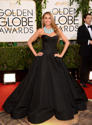 Sofia Vergara was easily the belle of the ball in this voluminous black Zac Posen strapless gown during the Golden Globes.