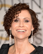 Minnie Driver styled her locks into a curly faux bob for the Golden Globes.