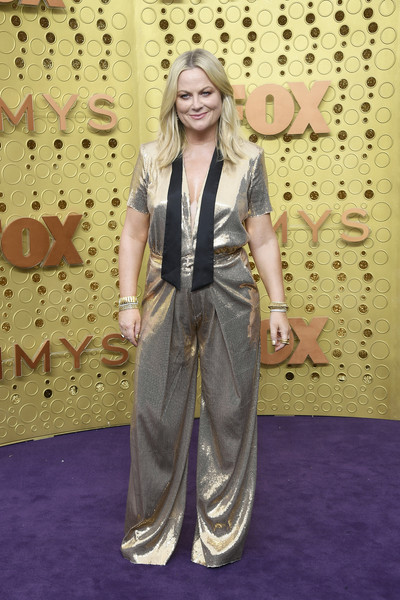 More Pics of Amy Poehler Jumpsuit (1 of 3) - Suits Lookbook - StyleBistro [clothing,carpet,fashion,red carpet,flooring,long hair,fawn,costume,style,arrivals,amy poehler,emmy awards,microsoft theater,los angeles,california]