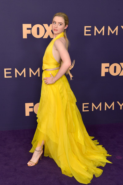More Pics of Kathryn Newton Vest (1 of 5) - Outerwear Lookbook - StyleBistro [dress,yellow,clothing,shoulder,fashion model,premiere,gown,hairstyle,fashion,carpet,arrivals,kathryn newton,emmy awards,microsoft theater,los angeles,california]