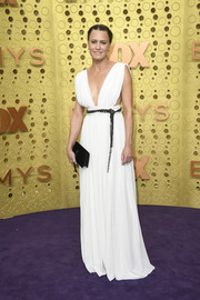 Robin Wright looked ageless in a plunging white Grecian gown by Saint Laurent at the 2019 Emmy Awards.
