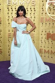 Jameela Jamil paired her dress with a matching box clutch.