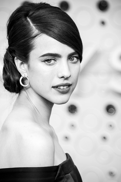 More Pics of Margaret Qualley Off-the-Shoulder Dress (1 of 9) - Dresses & Skirts Lookbook - StyleBistro [image,hair,face,photograph,hairstyle,lip,eyebrow,beauty,black-and-white,lady,chin,arrivals,margaret qualley,emmy awards,los angeles,california,microsoft theater]