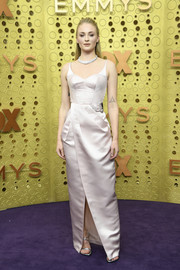 Sophie Turner kept it simple yet sophisticated in a pale pink Louis Vuitton gown at the 2019 Emmy Awards.