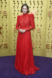Vera Farmiga was classic in a long-sleeve red lace gown by Ryan Roche at the 2019 Emmys.