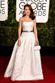 Salma Hayek was an ageless beauty in her white Alexander McQueen strapless gown at the Golden Globes.