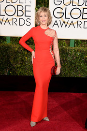 Jane Fonda proved she could still rock tight clothes and trendy cutouts with this red Versace number at the Golden Globes.