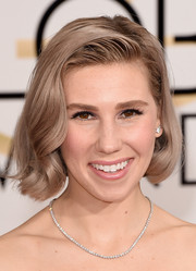 Zosia Mamet styled her ash-blonde bob with a hint of wave for the Golden Globes.