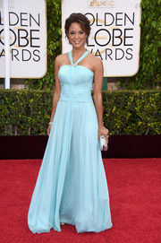 Eva la Rue brought a cool pop of pastel to the Golden Globes red carpet with this sky-blue halter gown.